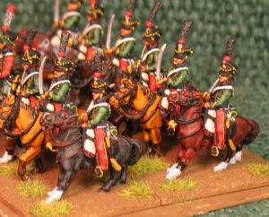 15mm, Napoleonic French Hussars (7th) AB 12 Figures
